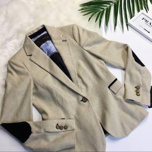 Zara Wool Classic Blazer With Elbow Patches